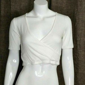 BCBGeneration white faux wrap crop top size small
